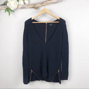 ANN TAYLOR Deep V Side Zip Sweater
